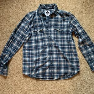 Men's blue plaid express button down